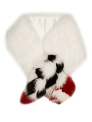 Fendi Blooming Garland Fox Fur Scarf White Black