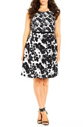 City Chic Plus Size Women's 'Double Take' Print Mock Two Piece Dress