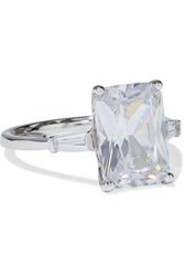 Cz By Kenneth Jay Lane Woman Rhodium Plated Crystal Ring Silver
