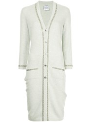 Chanel Vintage Embroidered Fitted Cardigan Grey