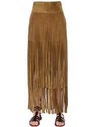 Simonetta Ravizza Tiered Fringed Suede Skirt