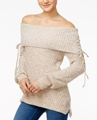 American Rag Off The Shoulder Lace Up Sweater Only At Macy's Oatmeal Combo