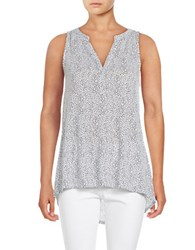 Lord And Taylor Scribble Dot Hi Lo Tank White