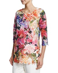Caroline Rose 3 4 Sleeve Floral Lace Top Petite Women's Multi White