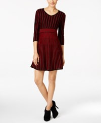 Ny Collection Petite Striped Fit And Flare Sweater Dress Valentina