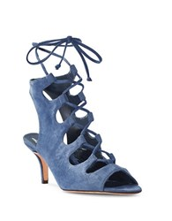 Delman Tanna Open Toe Crisscross Sandals Denim