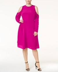 Rachel Roy Trendy Plus Size Cold Shoulder Dress Dark Pink