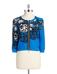Tracy Reese Cropped Cotton Cardigan Blue Flower