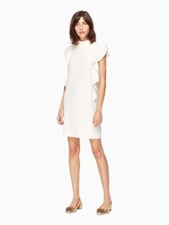 Kate Spade Satin Crepe Flutter Sleeve Dress French Cream