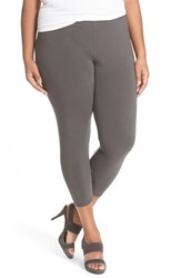 Plus Size Women's Eileen Fisher Lightweight Organic Cotton Crop Leggings Bark