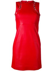Versus Cut Out Detail Fitted Dress Women Lamb Skin Polyester 42 Red