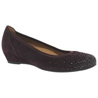 Gabor Arya Wide Fit Low Wedge Court Shoes Merlot Suede