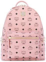 Mcm Start Monogram Backpack Women Leather Brass One Size Pink Purple