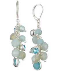 Nine West Stone And Crystal Beaded Cluster Drop Earrings Blue