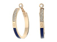 Guess Thin Enamel Clutchless Hoop Earrings Gold Cobalt Blue Earring