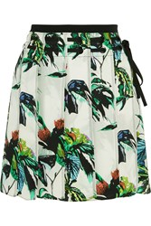 Proenza Schouler Pleated Printed Silk Crepe Mini Skirt