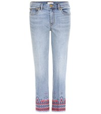 Tory Burch Myers Embroidered Cropped Jeans Blue