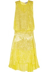 Preen Devore Satin Midi Dress Yellow