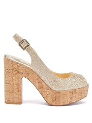 Christian Louboutin Dona Anna 120 Glittered Leather Platform Sandals Gold
