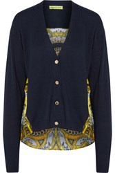 Versace Jeans Paneled Printed Silk And Cotton Blend Sweater Midnight Blue