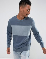 Abercrombie And Fitch Crew Neck Sweatshirt Chest Stripe In Navy