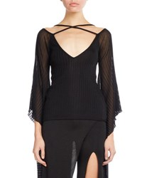 Balmain Knit Top W Sheer Batwing Sleeves Black