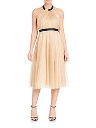 Abs By Allen Schwartz Metallic Tulle Halter Dress Rose Gold