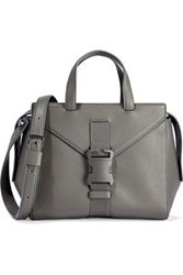 Christopher Kane Mini Marshall Buckled Textured Leather Shoulder Bag Gray