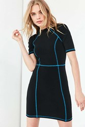 Silence And Noise Contrast Stitch Knit Bodycon Dress Black