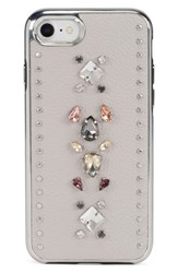 Rebecca Minkoff Inlay Gem Leather Iphone 7 8 And 7 8 Plus Case Beige Multi Gems Studs Putty