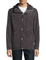 Cole Haan Solid Long Sleeve Rain Jacket Brown