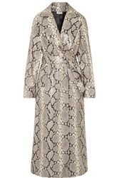 Attico Snake Effect Leather Trench Coat Snake Print