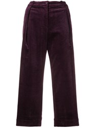 Peter Jensen Pleated Corduroy Trousers Pink And Purple