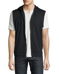 John Varvatos Terry Knit Zip Front Hooded Vest Black Men's