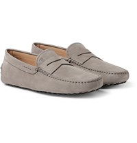 Tod's Gommino Nubuck Driving Shoes Gray