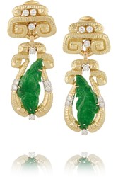 David Webb Scroll 18 Karat Gold Jade And Diamond Clip Earrings