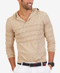 Nautica Men's Striped Hoodie Cork Heather