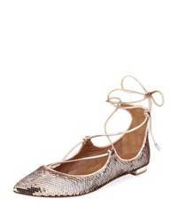 Aquazzura Christy Sequin Ballerina Flat Rose Gold