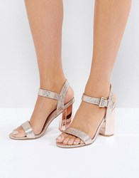 Call It Spring Burgersdorp Pink Glitter Two Part Heeled Sandals Light Pink 55