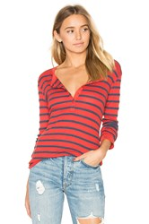 Stateside Stripe Thermal Long Sleeve Tee Red