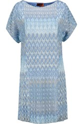 Missoni Metallic Crochet Knit Mini Dress Light Blue