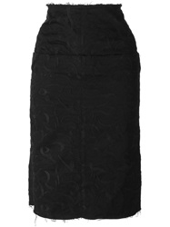 Aries Embroidered Pencil Skirt Black
