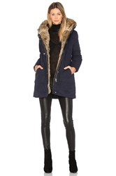 Mkt Studio Mantiki Rabbit Fur Collar Parka Coat Navy