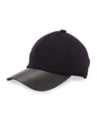 Neiman Marcus Cashmere Leather Trim Baseball Cap Navy Black