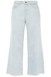 American Vintage Woman Cropped High Rise Wide Leg Jeans Light Denim