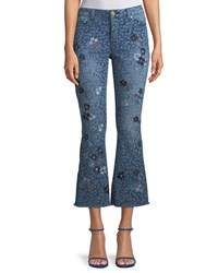 Michael Michael Kors Floral Print Cropped Bell Bottom Jeans True Navychambray