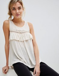 See U Soon Frill Front Top With Ladder Detail Cream