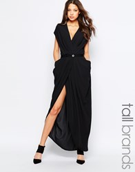 Y.A.S Tall Wrap Front Maxi Dress With Waist Detail Black