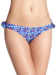 Shoshanna Neon Hearts Bow Bikini Bottom Blue Multi