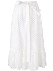 Tory Burch Perforated A Line Skirt White